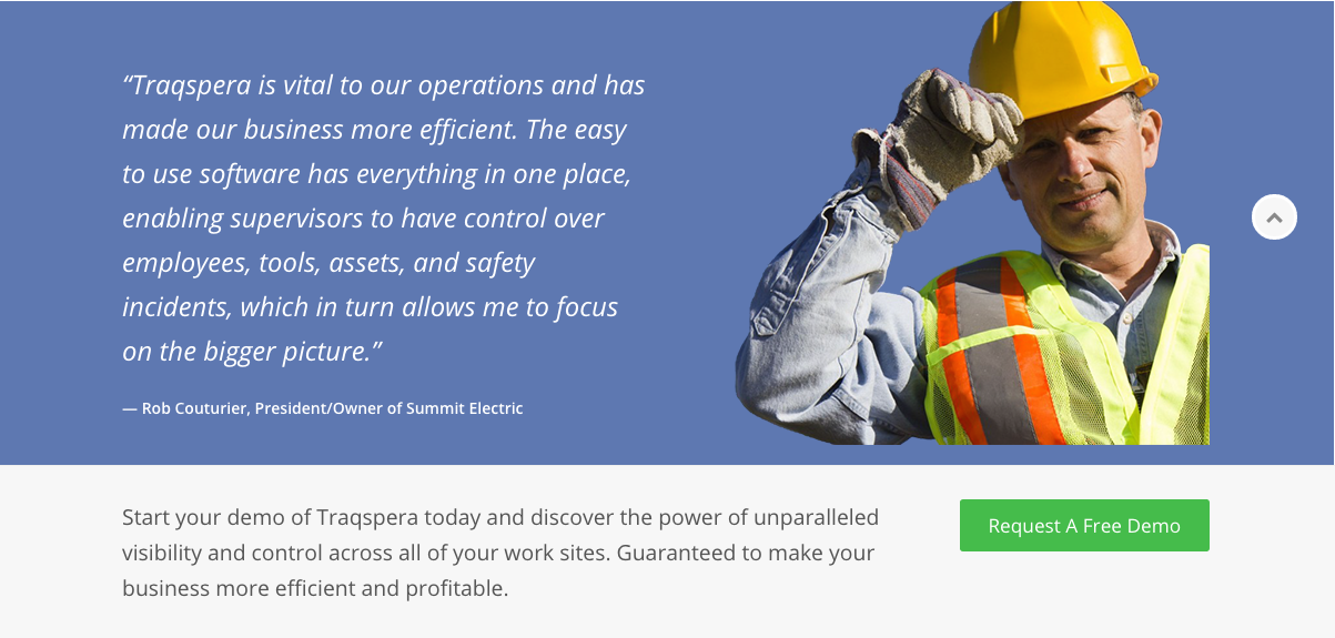 Traqspera homepage testimonial and Call To Action - Website Content and Copywriting Services
