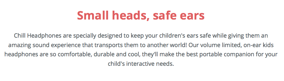About website copy for kid's headphones product