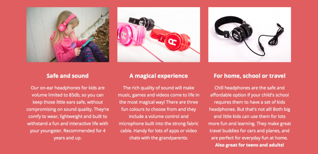 product feature website copy for kid's headphones