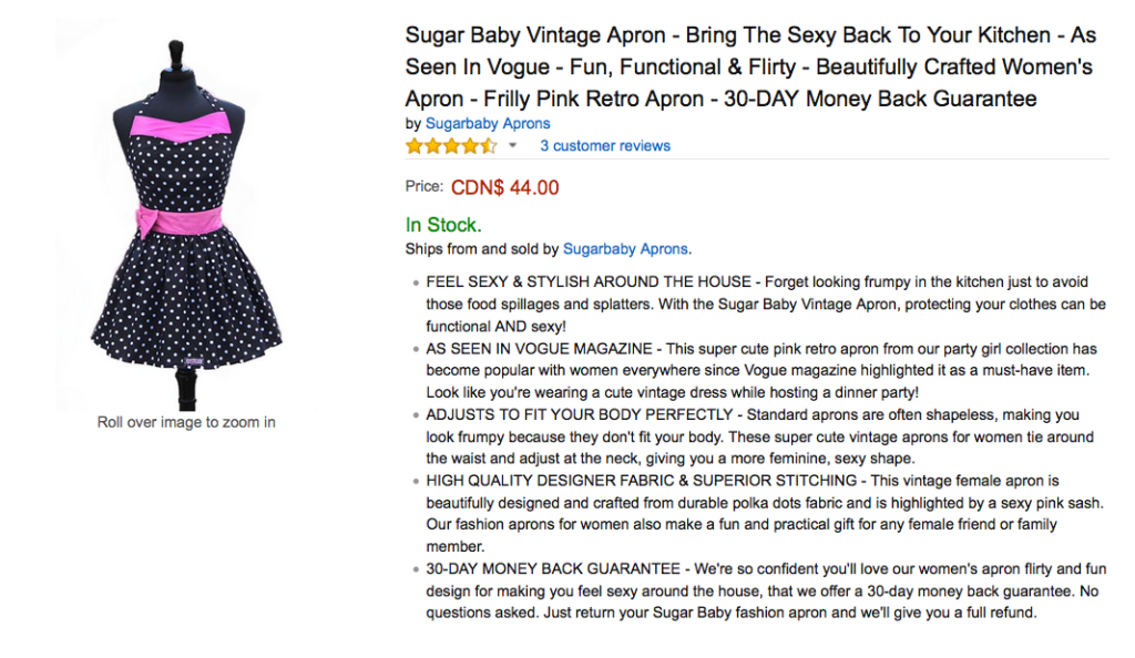 Amazon listing service - title and bullets for Sugar Baby Aprons