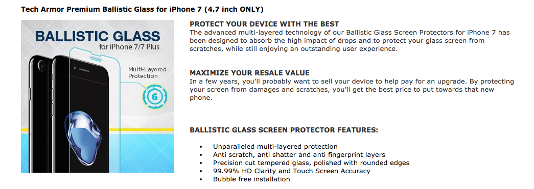 A+ Amazon page for iPhone Accessories brand