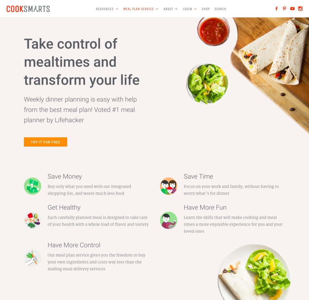 Sales page copywriting service for cook smarts