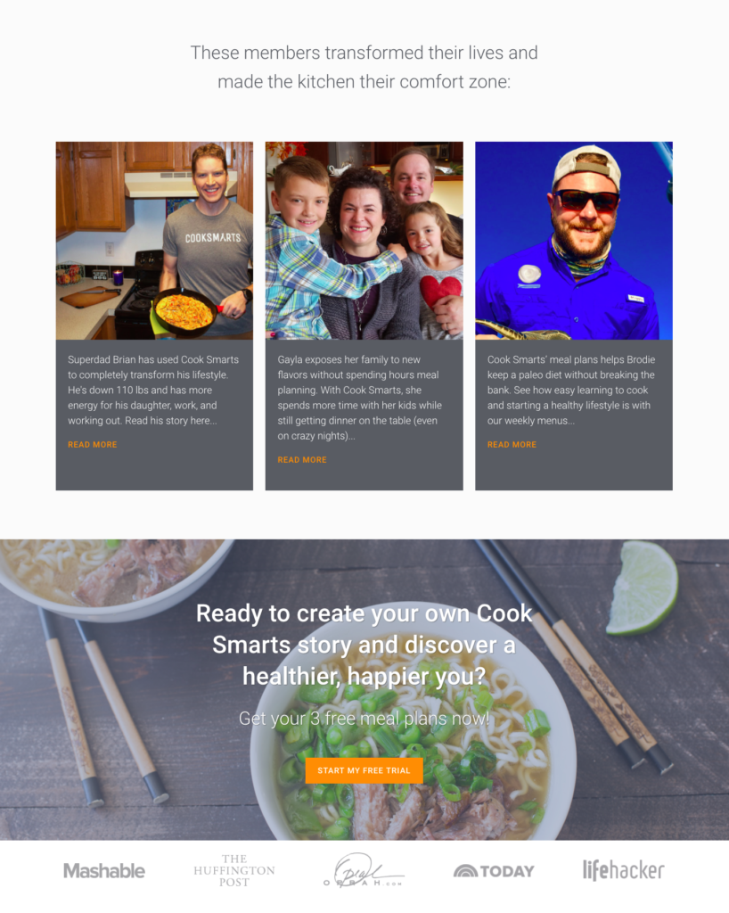 Sales page copywriting service for meal plan service
